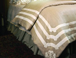Lili Alessandra Angie Duvet Cover - Natural Linen with White Linen Applique