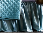Lili Alessandra Chloe Seafoam Velvet Gathered Bedskirt
