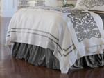 Lili Alessandra Soho Duvet Cover - White Linen with Silver Velvet
