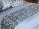 Lili Alessandra Mozart Throw - White Linen with Ice Silver Velvet Applique