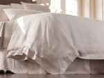 Lili Alessandra Casablanca Duvet Cover - White Linen with White Linen Applique