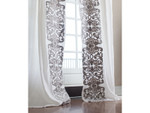 Lili Alessandra Mozart Drapery Panel (Set of 2) - White Linen / Silver Velvet Applique