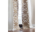 Lili Alessandra Mozart Drapery Panel (Set of 2) - White Linen / Straw Velvet Applique