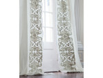 Lili Alessandra Mozart Drapery Panel (Set of 2) - White Linen / Ice Silver Velvet Applique