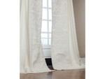 Lili Alessandra Mozart Drapery Panel (Set of 2) - White Linen / White Linen Applique