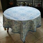 Jacquard Weave French Tablecloth - La Roman Blue