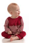 BambooDreams Maisy Ruffle Dress Set - Cranberry Micro Stripe