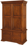 Laurel Crown French Sleigh Wardrobe with Drawers