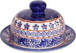 Boleslawiec Polish Pottery Round Butter Dish - Blue Garden