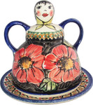 Boleslawiec Polish Pottery Cheese Lady Butter Dish - Red Garden