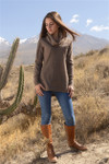 Hudson Alpaca Cowl Tunic - Heather Brown