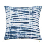 "Under The Canopy Shibori Chic Square Indigo 16""W x 16""L Shibori Tie Dye Decorative Pillow"