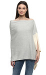 Darzzi Color Block Poncho - Vanilla Grey Melange / Natural