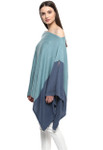 Darzzi Color Block Poncho - Summer Blue / Queens Blue