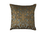 Lili Alessandra Alexandra Square Pillow - Slate Velvet/Gold Print/Gold Beads