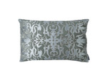 Lili Alessandra Alexandra Small Rectangle Pillow - Slate Velvet/Silver Print/Silver Beads