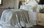 Lili Alessandra Onasis Duvet Cover - Ice Silver Velvet / White Linen Applique