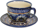 Boleslawiec Polish Pottery Cup and Saucer - Blue Garden