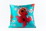 Ann Gish Daisy Silk Pillow - Turquoise
