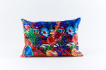Ann Gish Flower Stripe Silk Pillow - Blue
