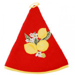 Provence Lemon Round Terrycloth Towel - Red