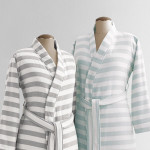 Kassatex Fouta Striped Robe - Shadow Grey