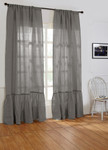 Amity Home Caprice Linen Curtain - Neutral Grey