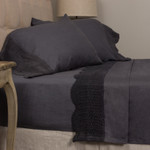 Amity Home Eveline Linen Crochet Sheet Set - Steel Blue