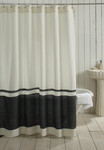 Amity Home Orfeo Linen Shower Curtain - Ivory/Steel Blue
