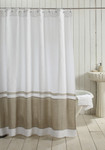 Amity Home Orfeo Linen Shower Curtain - White/Natural
