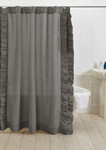 Amity Home Basillo Linen Shower Curtain - Neutral Grey