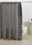 Amity Home Basillo Linen Shower Curtain - Neutral Grey