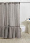 Amity Home Caprice Linen Shower Curtain - Grey Chambray