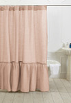Amity Home Caprice Linen Shower Curtain - Petal Pink