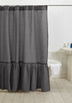 Amity Home Caprice Linen Shower Curtain - Steel Blue
