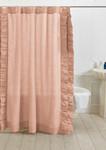 Amity Home Basillo Linen Shower Curtain - Petal Pink