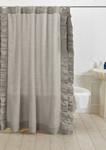Amity Home Basillo Linen Shower Curtain - Platinum Grey
