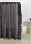 Amity Home Basillo Linen Shower Curtain - Steel Blue