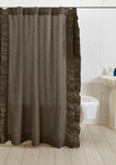 Amity Home Basillo Linen Shower Curtain - Walnut Brown
