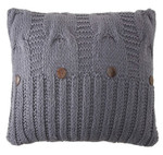 Amity Home Micah Cable Knit Pillow - Steel Blue
