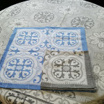 Jacquard Weave Cotton Napkin - Mosaique Blue