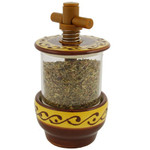 Provence Ceramic Herb Grinder - Arabesque Yellow/Brown