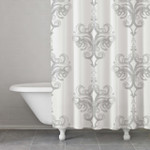 Kassatex Rifiki Damask Shower Curtain - Grey