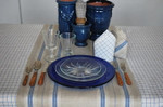 Le Cluny Malo Stripe French Linen Tablecloths - Blue