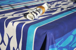 Le Cluny Provencal Coated Cotton Tablecloths - Fishy Fish Blue