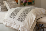 Lili Alessandra Guy Throw - Ivory Basketweave / Platinum Velvet