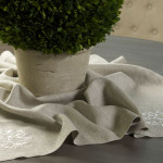"Crown Linen Flax Table Topper with ""Damask"" Embroidery"