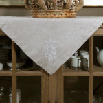 "Crown Linen Flax Table Topper with ""Royal"" Embroidery"