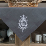 "Crown Linen Gray Table Topper with ""Royal"" Embroidery"