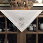 "Crown Linen White Table Topper with ""Royal"" Embroidery"